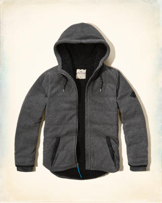 Sherpa Lined Quilted Fleece Hoodie