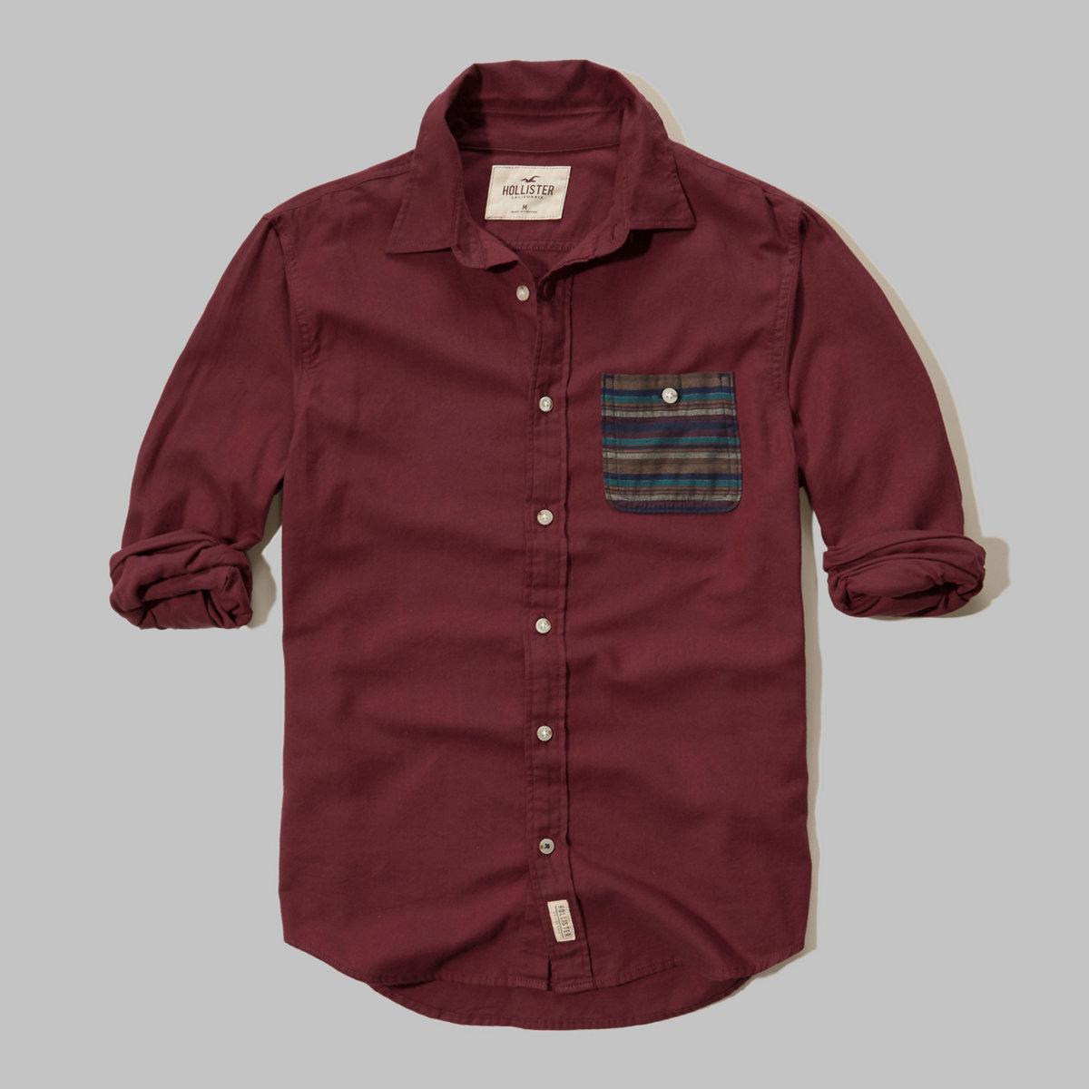 Patterned Pocket Brushed Cotton Shirt