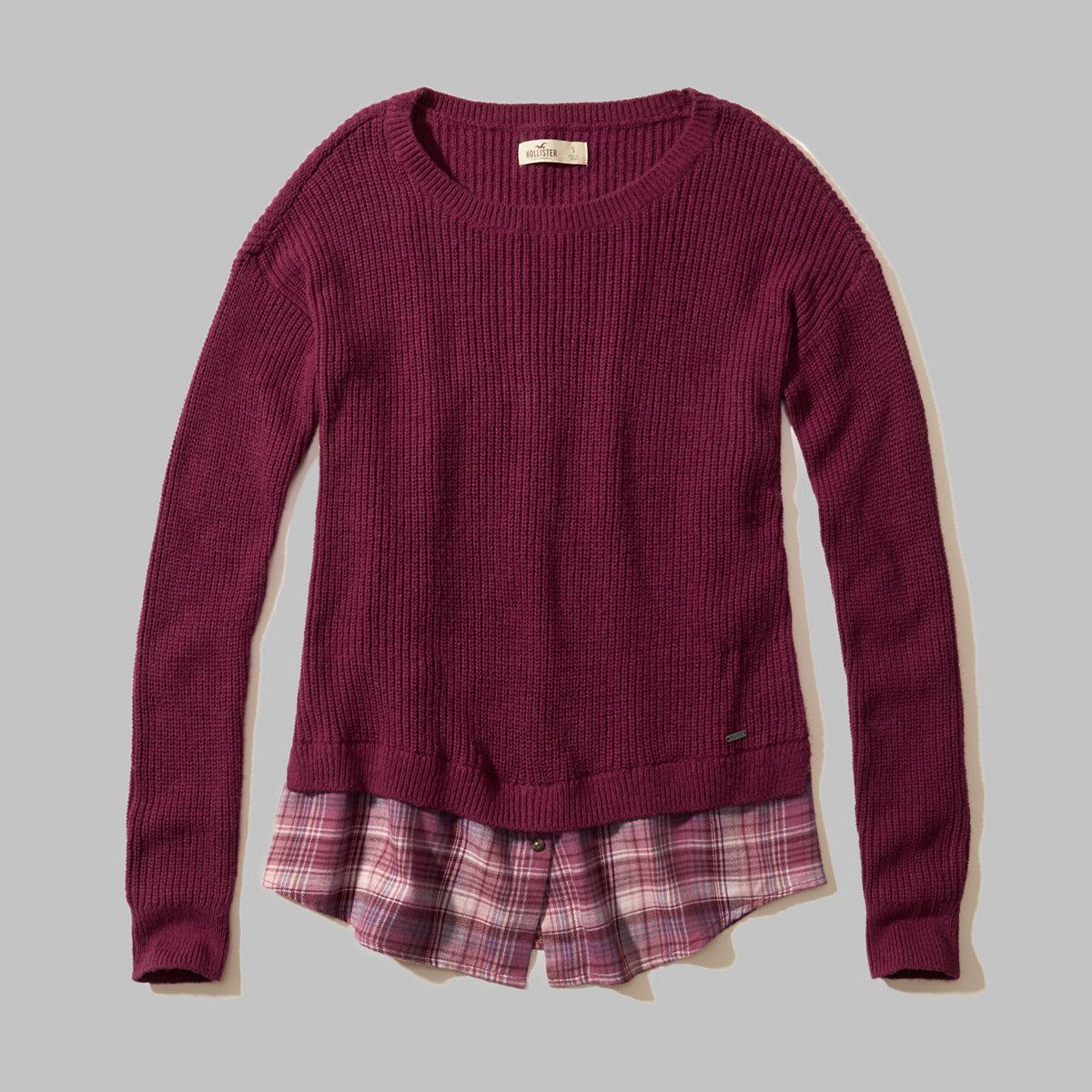 Plaid Hem Pullover Sweater