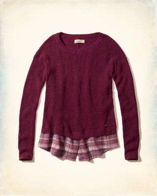 Plaid Hem Pullover Sweater