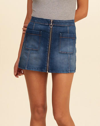 Zip Front Denim A-Line Skirt