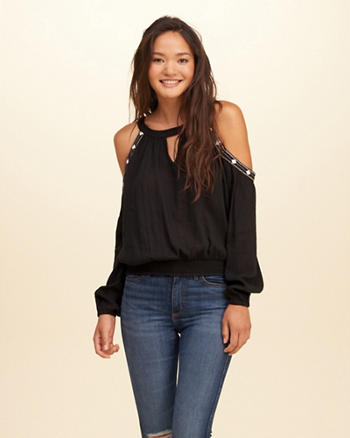Studded Cold Shoulder Peasant Top