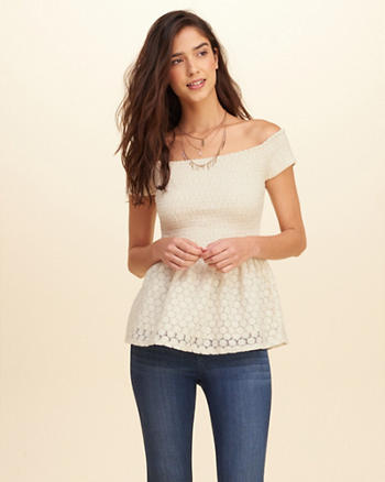 Lace Smocked Off-The-Shoulder Top