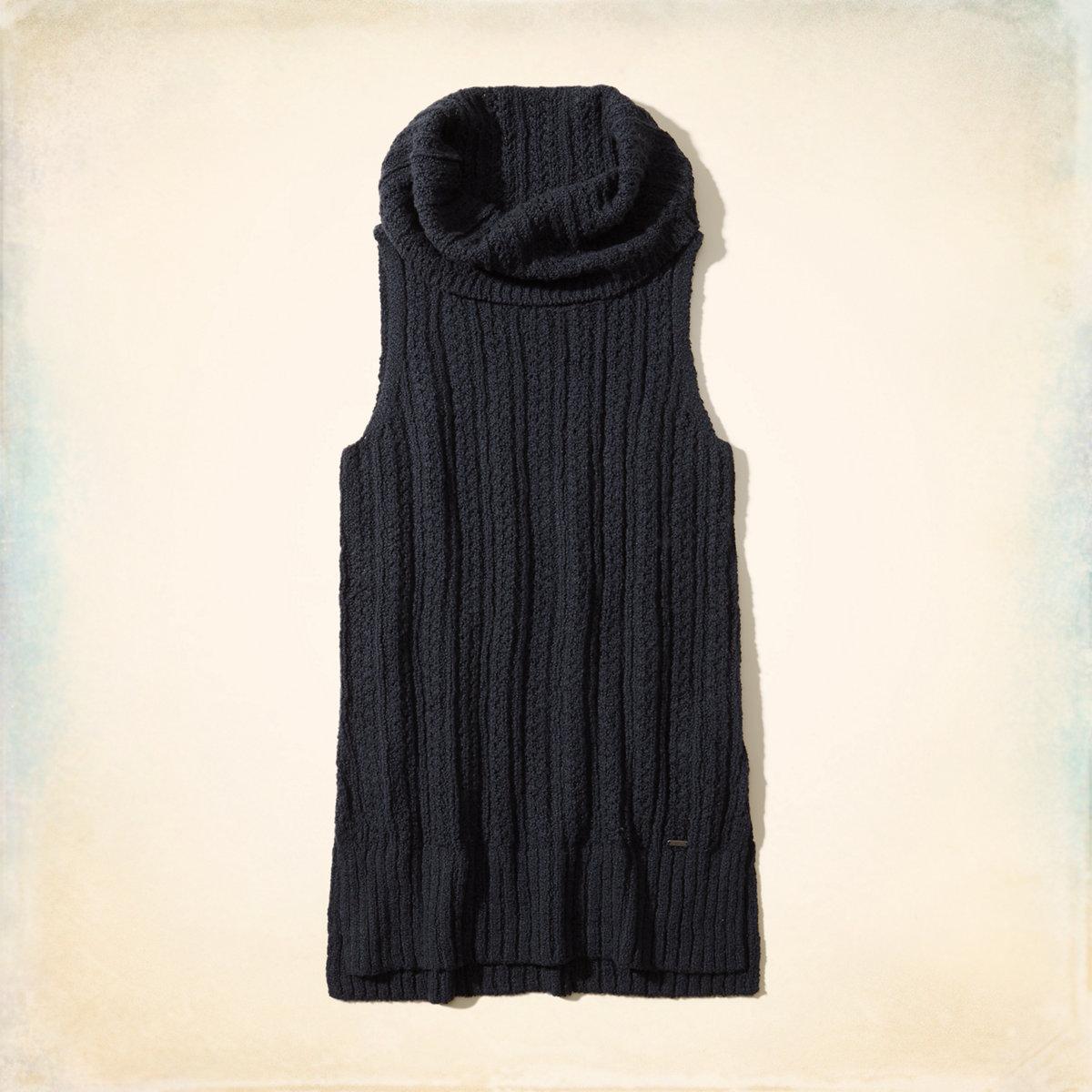 Sleeveless Cowl Neck Tunic Sweater
