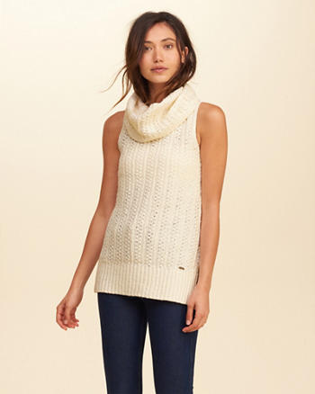 Sleeveless Cowl Neck Tunic Sweater