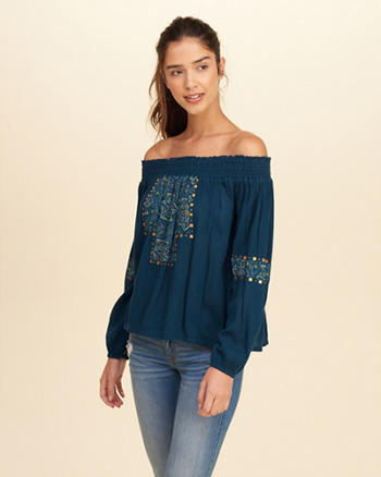 Patterned Off-The-Shoulder Peasant Top