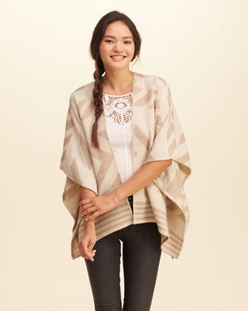 Patterned Non-Closure Blanket Poncho