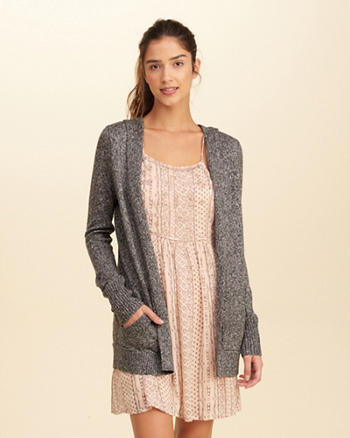 Hooded Non-Closure Cardigan