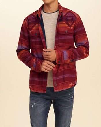 Patterned Thermal Fleece Shirt Jacket
