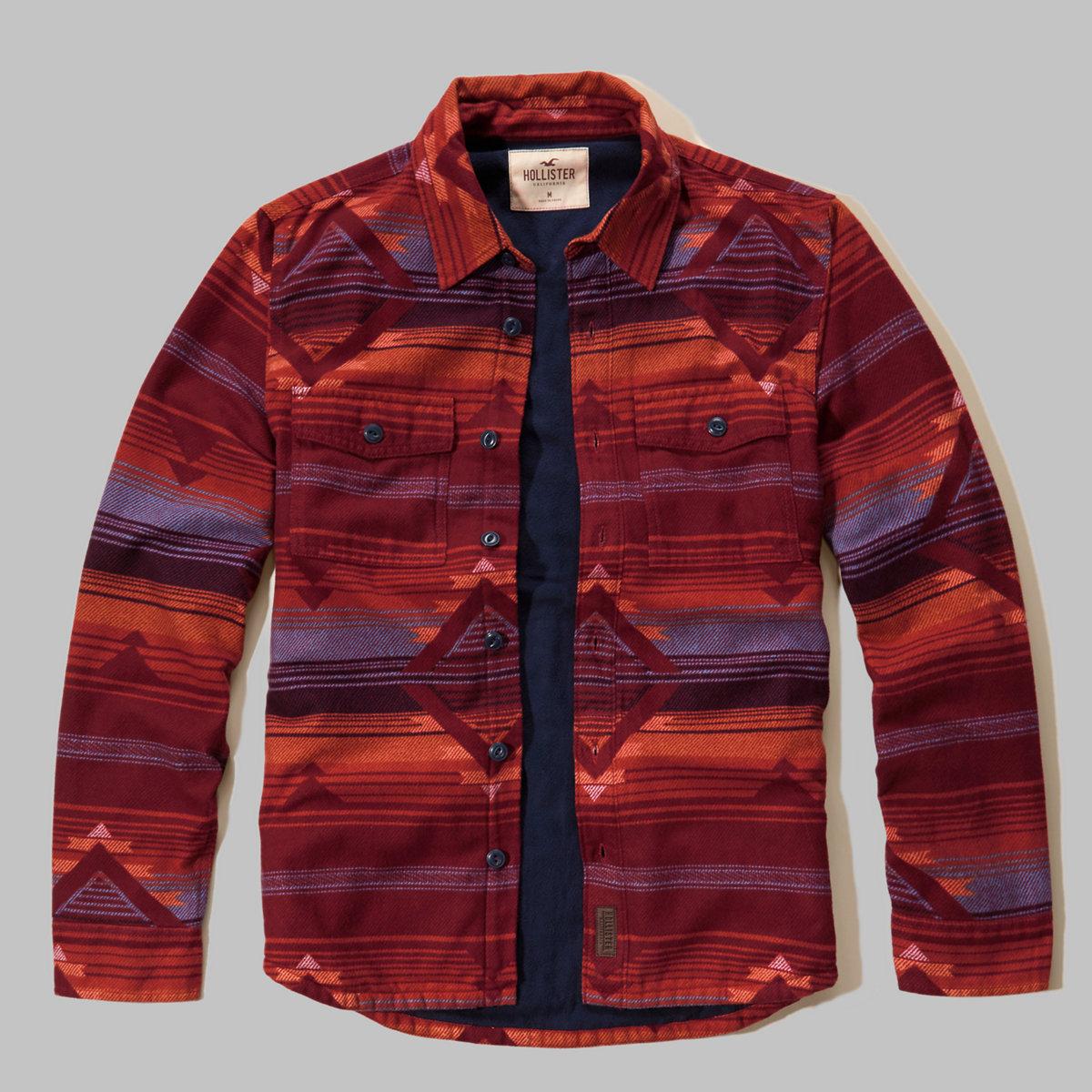 Patterned Thermal Fleece Shirt Jacket