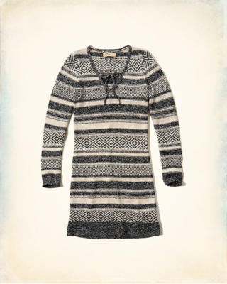 Tie-Neck Sweater Dress