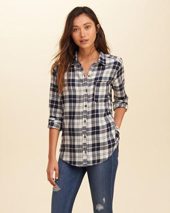 Button Front Plaid Shirt