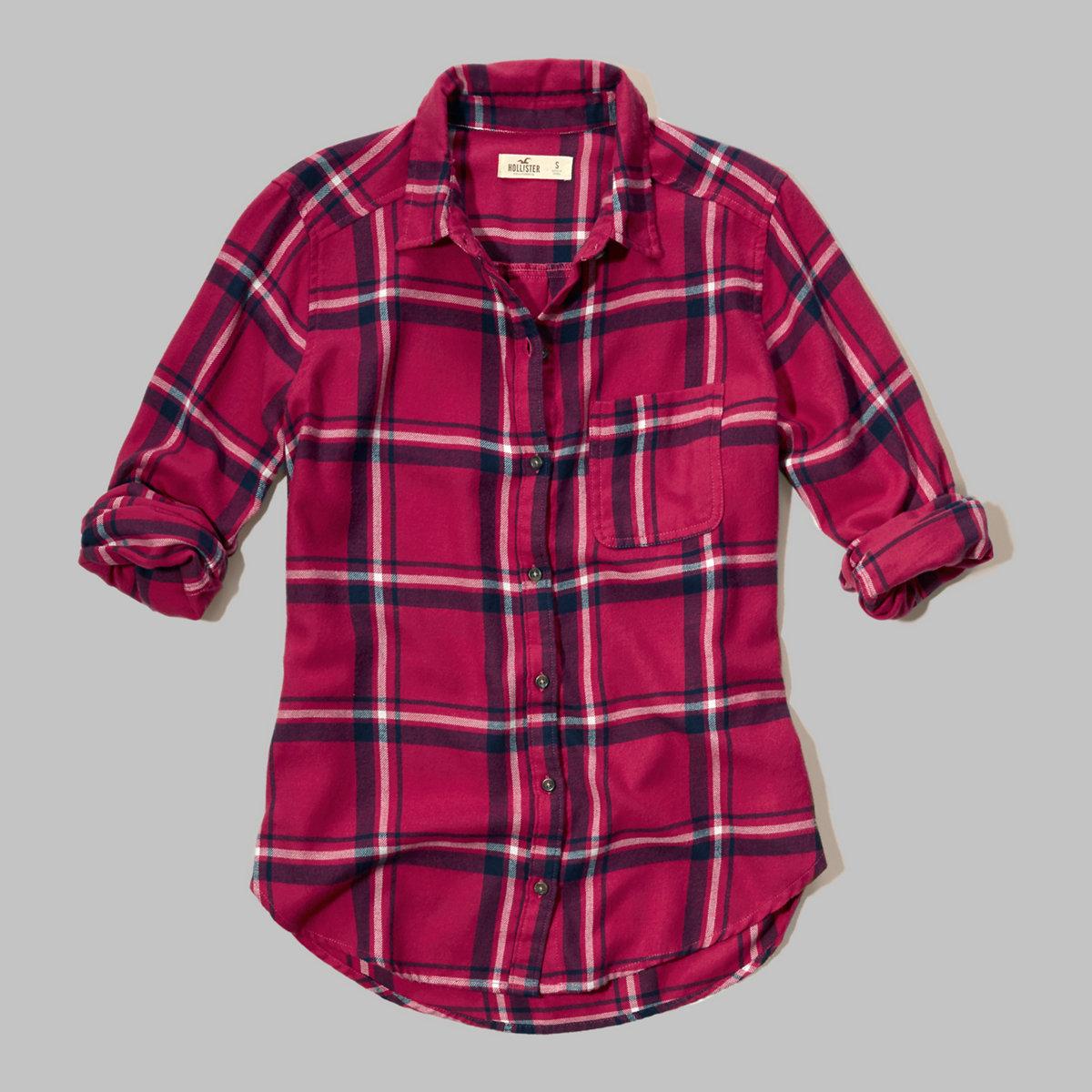 Button Front Plaid Shirt