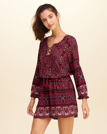 Printed Lace-Up Rayon Romper