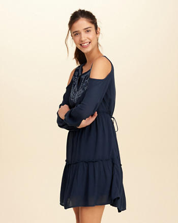 Embroidered Cold Shoulder Swing Dress