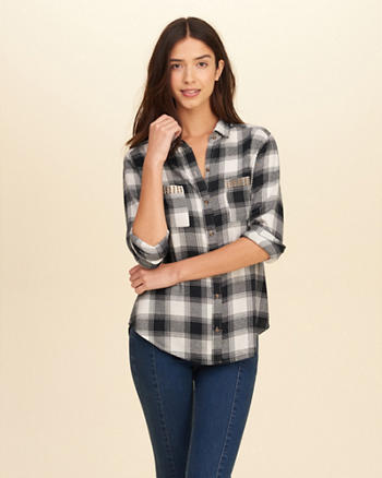 Studded Pocket Plaid Shirt