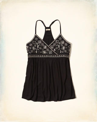 Beaded Embroidered Crossover Tank
