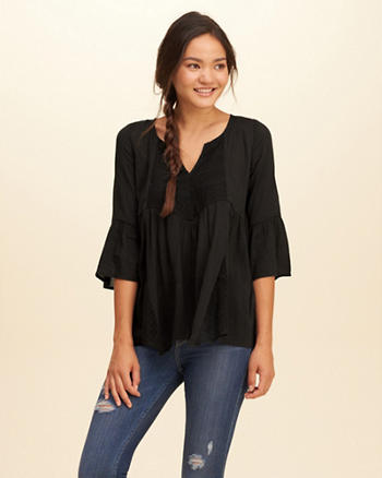 Embroidered Mesh Peasant Top