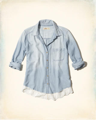 Lace Hem Chambray Shirt