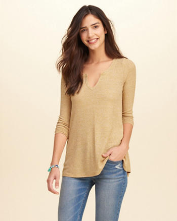 Must-Have Notch-Front Ribbed T-Shirt