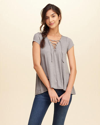 Must-Have Easy Lace-Up T-Shirt