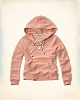 Lace-Up Terry Hoodie
