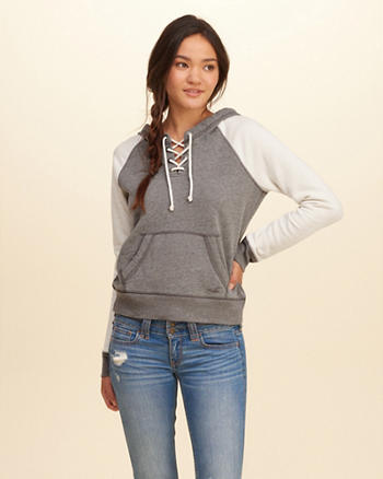 Lace-Up Fleece Hoodie