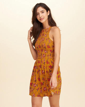 Smocked Rayon Skater Dress