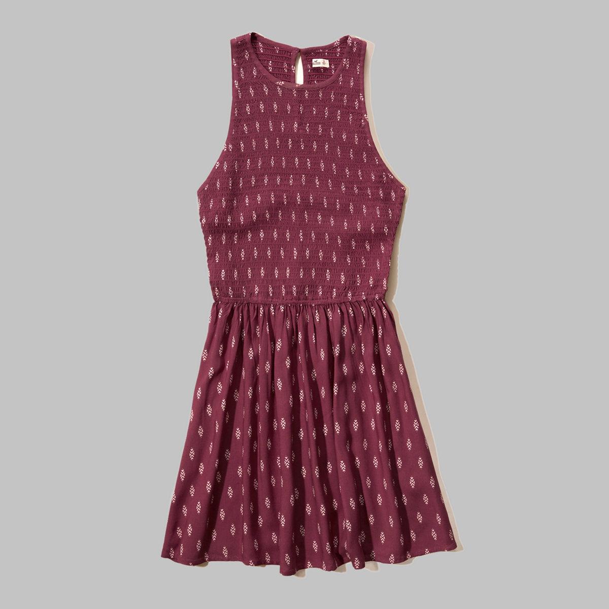 Smocked Rayon Skater Dress