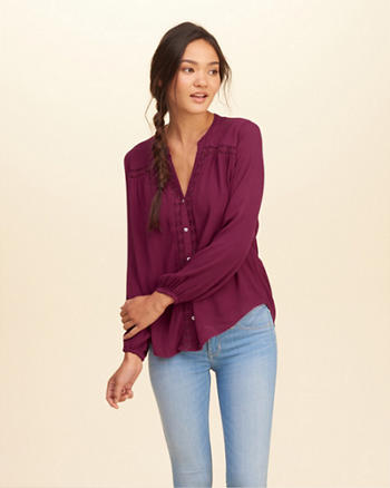 Lace-Trim Drapey Shirt
