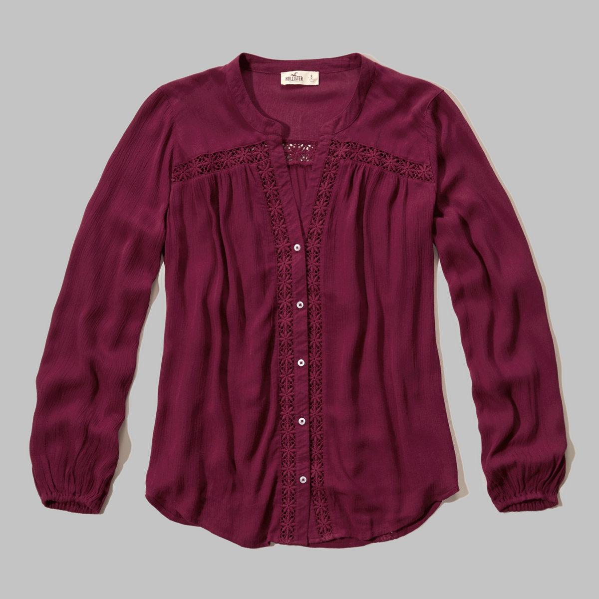 Lace-Trim Drapey Shirt