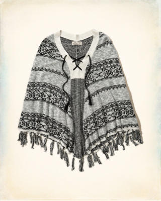 Lace-Up Fringe Poncho