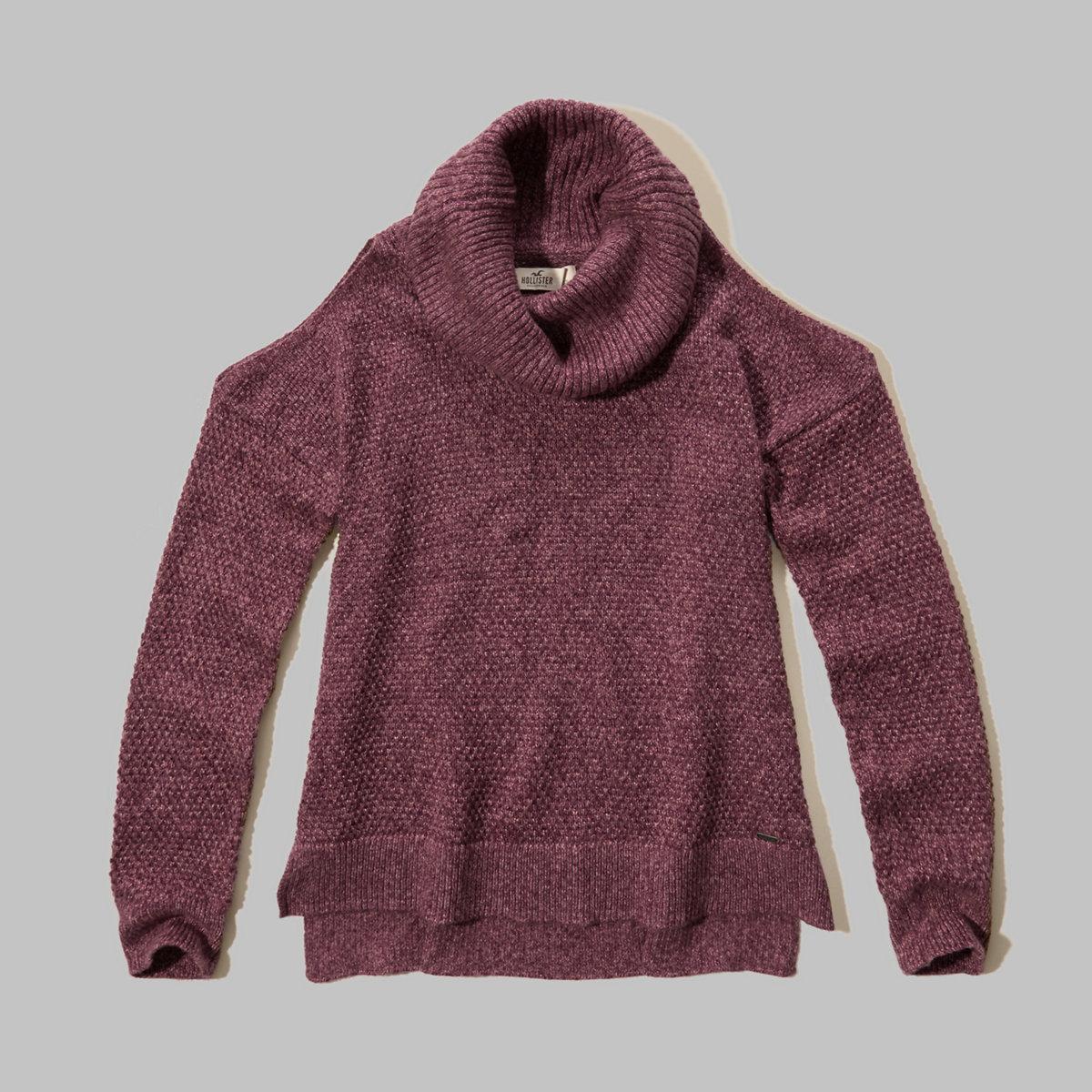 Cowl Neck Cold Shoulder Sweater