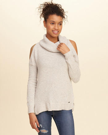 Cowl Neck Cold Shoulder Sweater