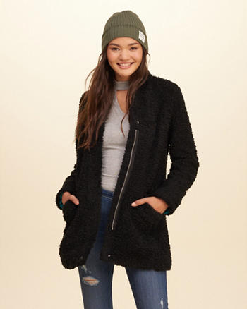 Zip Front Faux Fur Coat