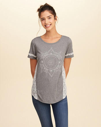 Lace Panel Graphic Tee