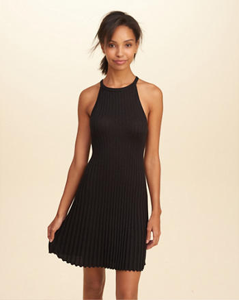 High-Neck Shine Ribbed Dress
