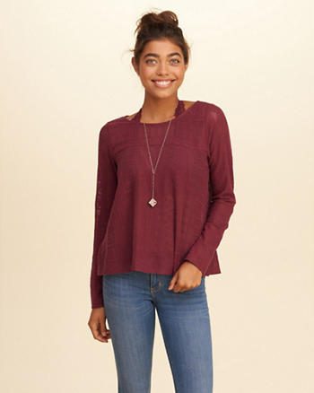 Unlined Embroidered Mesh Top