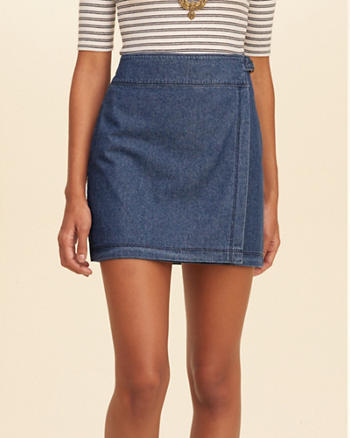 Wrap-Front Chambray Mini Skirt