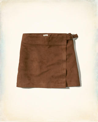 Wrap-Front Vegan Suede Mini Skirt