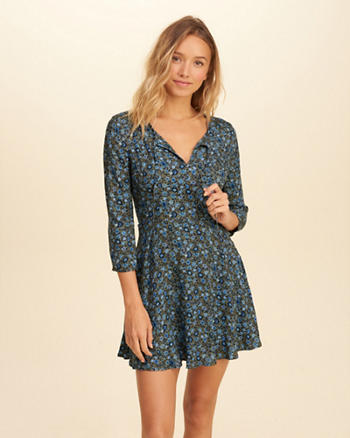 Patterned Skater Dress