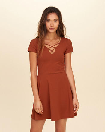 Strappy Front Knit Skater Dress