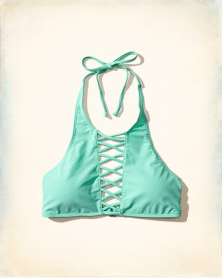 High Neck Strappy Front Swim Top