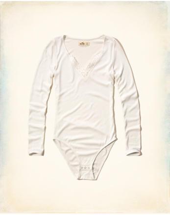 hol Lace V-Neck Ribbed Bodysuit