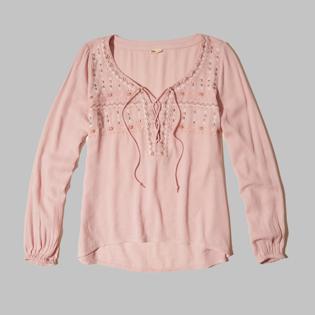 Embroidered Lace-Up Peasant Top