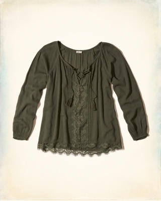 Lace-Up Peasant Top