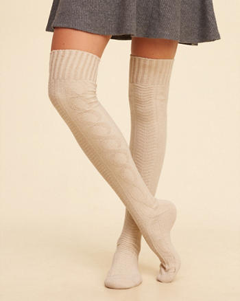 Over-The-Knee Cable Socks