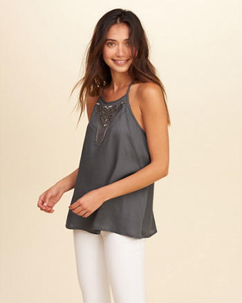 Embellished High Neck Cami
