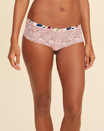 Gilly Hicks Patterned-Trim Lace Short