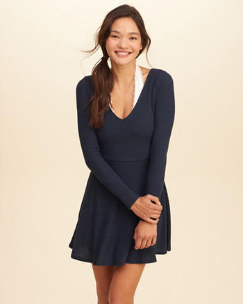 Long-Sleeve Ribbed Skater Dress